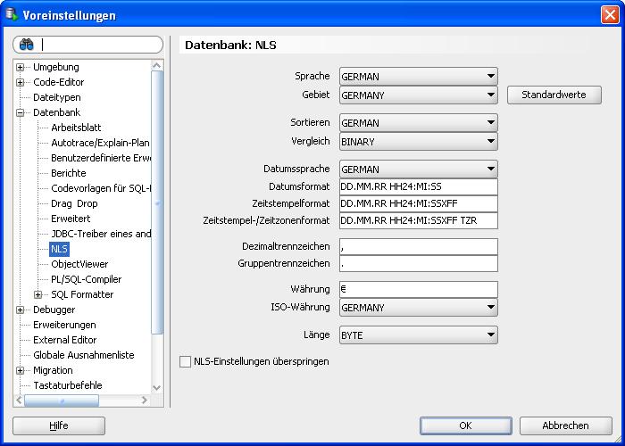 Darstellungsformat des Datums im Oracle SQL Developer