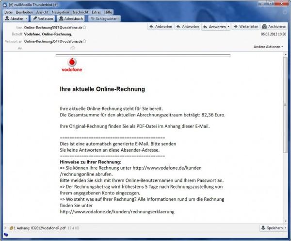 Angebliche Vodafone E-Mail