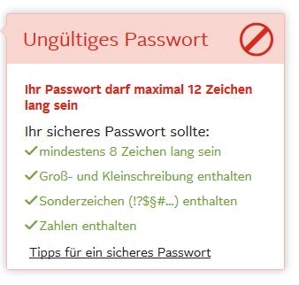 passwort richtlinie bei otto.de
